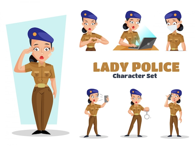 Illustration du jeu de caractères lady police