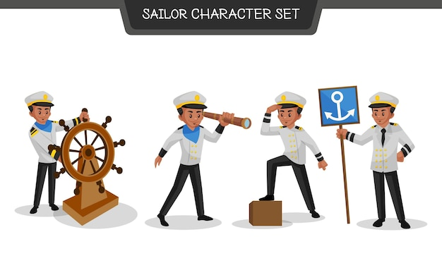 Illustration du jeu de caractères de marin