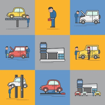 Illustration du jeu de vecteur de garage automobile