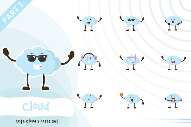 Illustration du jeu de nuages mignon