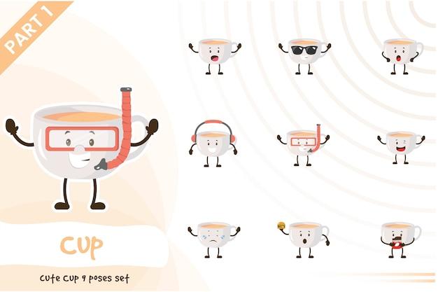 Illustration du jeu de tasse mignon