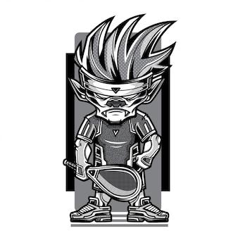 Illustration du jeu de tennis en noir et blanc
