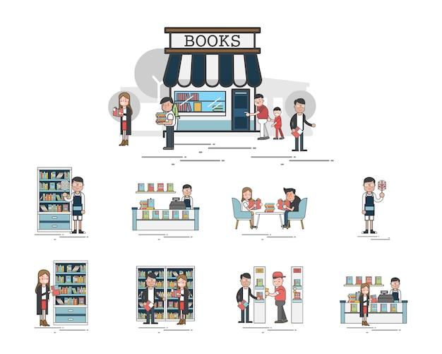 Illustration du jeu de vecteur de bibliothèque