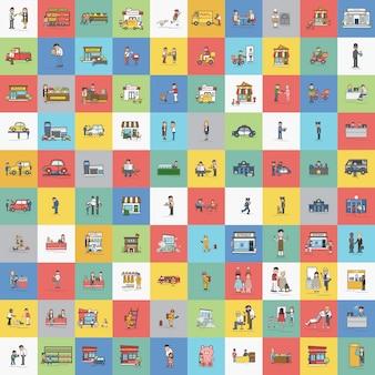 Illustration du jeu de vecteur de petites entreprises