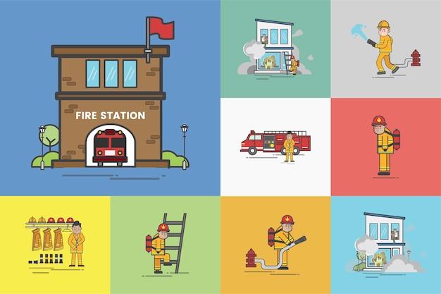 Illustration du jeu de vecteur de pompier