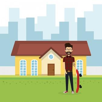 Illustration du jeune homme à l'extérieur de la maison