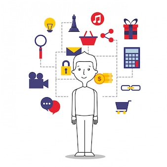 Illustration du jeune homme avec des icônes de l'internet
