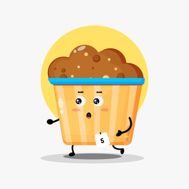 Illustration du jogging de caractère mignon muffin