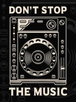 Illustration du joueur de dj sur fond sombre. le texte est sur le groupe séparé.