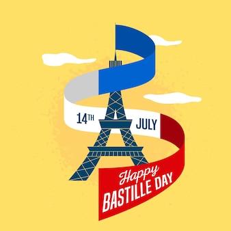 Illustration du jour de la bastille cocnept