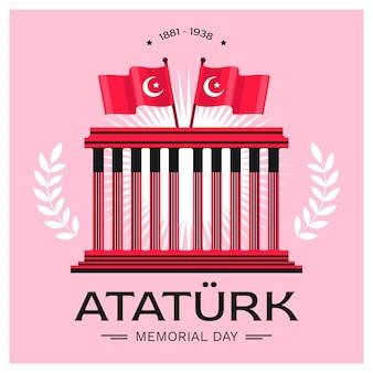 Illustration du jour commémoratif d'ataturk plat dessiné à la main
