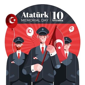Illustration du jour commémoratif d'ataturk plat
