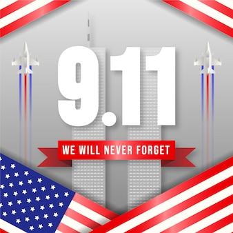 Illustration du jour du patriote dégradé 9.11
