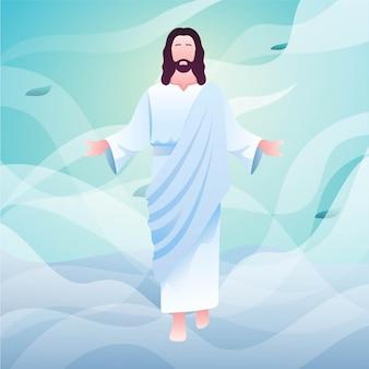 Illustration du jour de la résurrection de l'ascension du fils de dieu