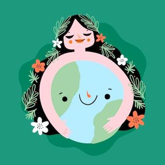 Illustration du jour de la terre mère dessin animé