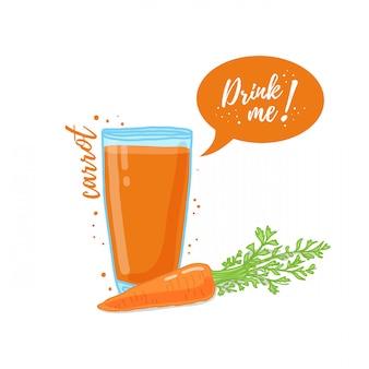 Illustration du jus de carotte buvez-moi. cocktail de légumes frais aux carottes. .