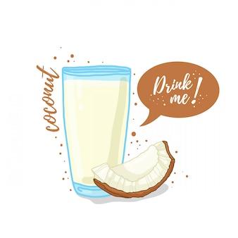 Illustration du jus de noix de coco buvez-moi. lait de coco dans une tasse en verre.