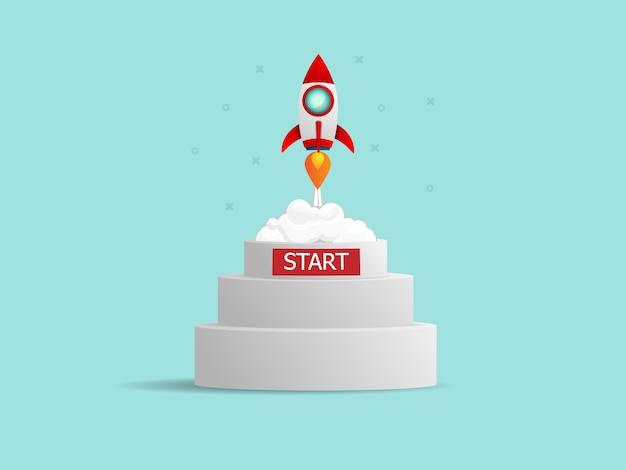 Illustration du lancement de la fusée du concept de démarrage d'entreprise podium