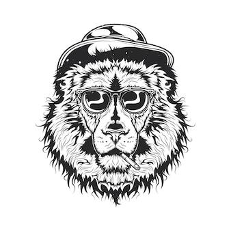 Illustration du lion fumant dans un chapeau et des lunettes