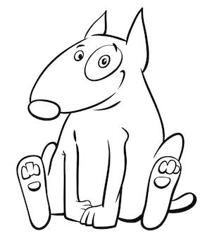 Illustration du livre de coloriage de chien bull terrier drôle