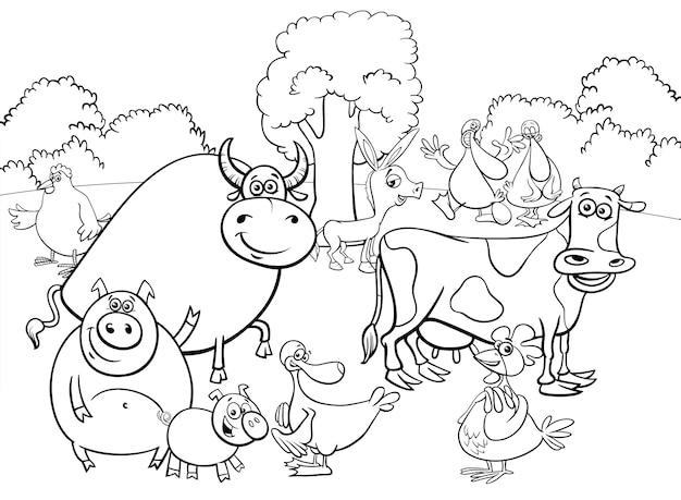 Illustration du livre de coloriage du groupe de personnages d'animaux de ferme