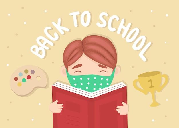 Illustration du livre de lecture de garçon de retour à l'école