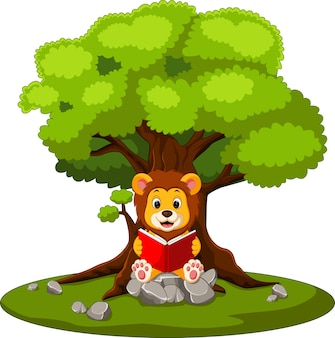 Illustration du livre de lecture lion dessin animé