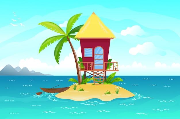 Illustration du lodge sur la plage