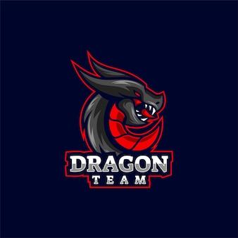 Illustration du logo dragon e-sport et style sport.