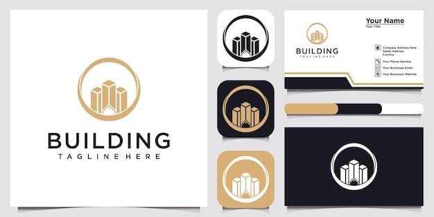 Illustration du logo du bâtiment et conception de la carte de visite