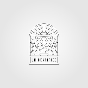 Illustration du logo de l'espace ufo ligne art, emblème minimaliste de l'espace