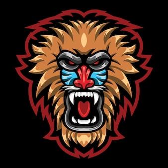 Illustration du logo esport baboon en colère
