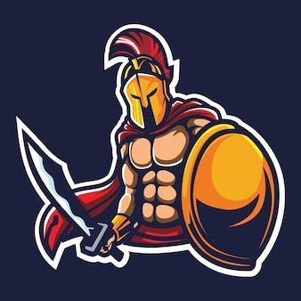 Illustration du logo esport guerrier spartiate
