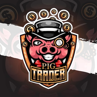 Illustration du logo esport icône de personnage de commerçant de porcs
