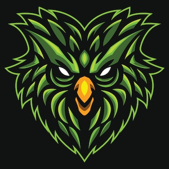 Illustration du logo esport tête d'oiseau vert
