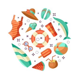 Illustration du logo de l'été. heure d'été, profitez de vos vacances.