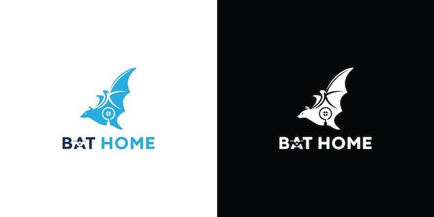 Illustration du logo de la maison de chauve-souris vecteur premium