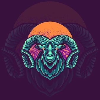 Illustration du logo mascotte animal chèvre