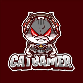 Illustration du logo de la mascotte cat gamer