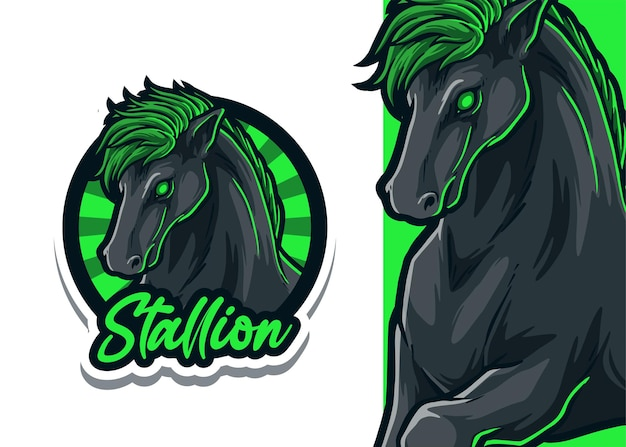 Illustration du logo mascotte cheval étalon