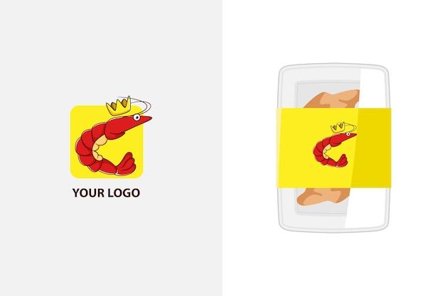 Illustration du logo de mascotte de crevettes mignon pour produit de fruits de mer