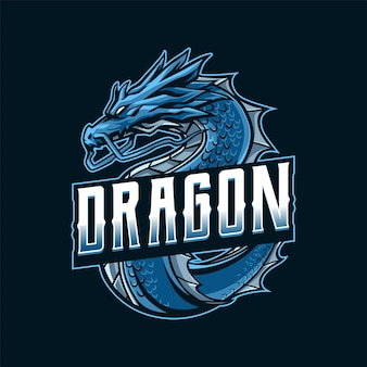 Illustration du logo mascotte dragon bleu