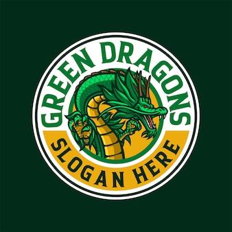 Illustration du logo mascotte dragon vert