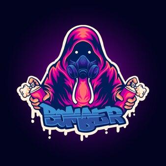 Illustration du logo de la mascotte du bombardier de rue