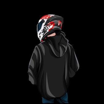 Illustration du logo de la mascotte du casque de cavalier
