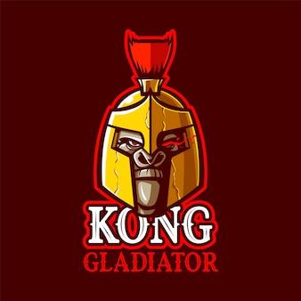 Illustration Du Logo De La Mascotte Kong Gladiator Vecteur Premium