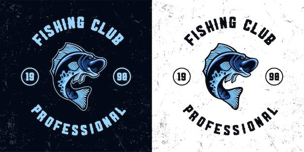 Illustration du logo mascotte pêche poisson bleu vintage