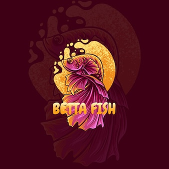 Illustration du logo mascotte poisson betta