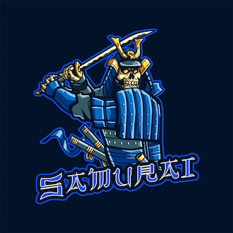 Illustration du logo de la mascotte skull samurai