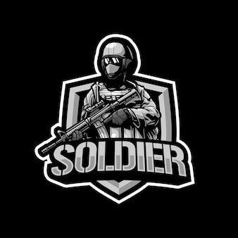 Illustration Du Logo Mascotte Soldat Vecteur Premium